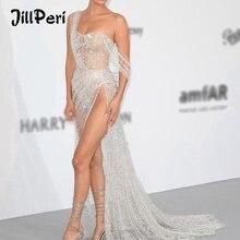 Jillperi女性ストラップレススパンコールドレスロングラグジュアリシルバーガウン脚オープン衣装パーティがセクシーなボディスーツマキシドレス