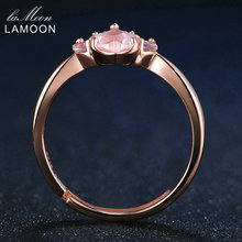 Bear's Paw 5mm 100% Natural Pink Rose Quartz Ring 925 Sterling Silver Jewelry Rose Gold Romantic Wedding Band LMRI027