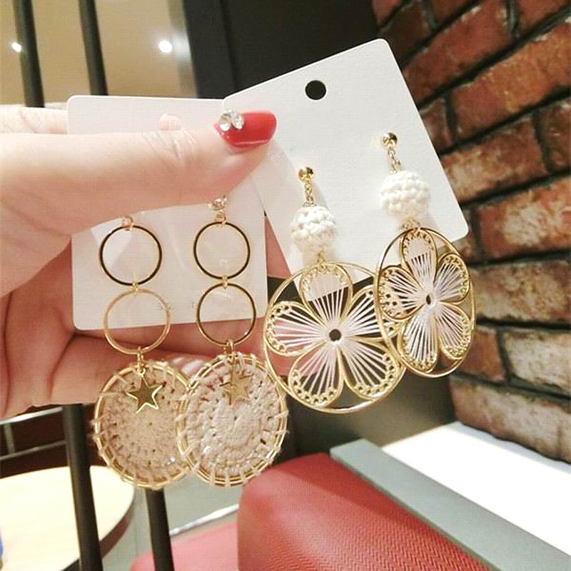 Boho Handmade Big Round Flower Weave Drop Earrings For Women 2019 New Fashion Jewelry Beach Holiday Earrings in Drop Earrings from Jewelry Accessories