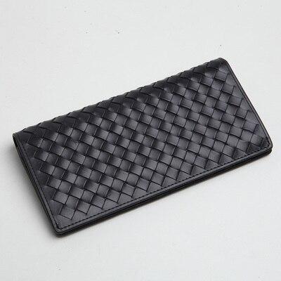 LANSPACE мужские кошельки тканый кожаный кошелек брендовый кошелек Чехол - Цвет: Black