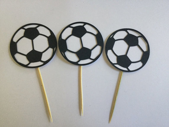 birthday Football Soccer Boys Party Celebrate Goal soccer team sport cupcake toppers Food Picks toothpick24pcs