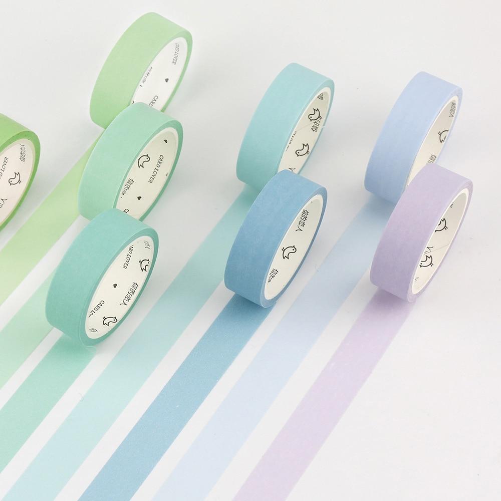 Pure Color Rainbow Washi Tape Set Decorative Label Masking Sticker Tape School Office Supplies