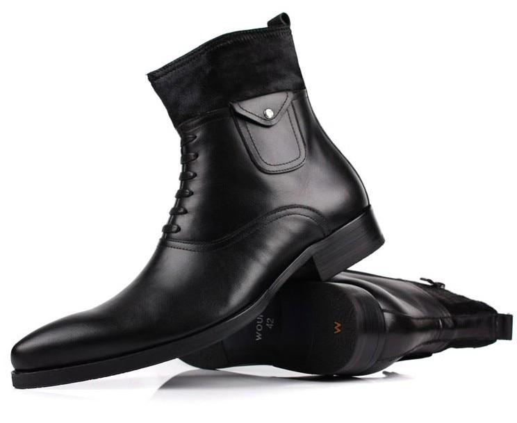 De Couro Crina Dos Botas Mens Moda Homens Inverno Boots Preta Sapatos Genuíno Motocicleta Ankle pA4RFw