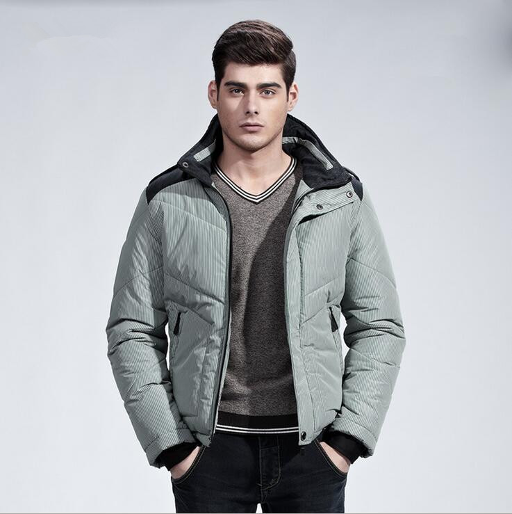 2017 New Brand Men's Winter Jacket Hooded Thick Coats Casual Mens Thick Coat Male Slim Cotton Padded Down Outerwear A2386