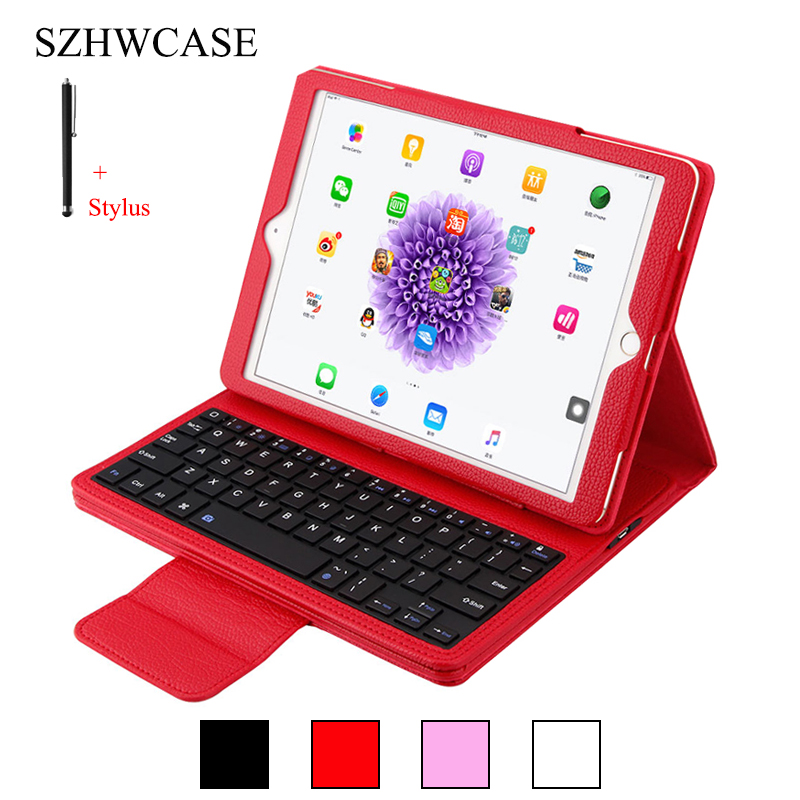 For iPad 9.7 inch 2017 Wireless Bluetooth Keyboard Case For iPad 9.7 inch 2017 Detachable Tablet Flip Leather Stand Cover+Stylus case cover for