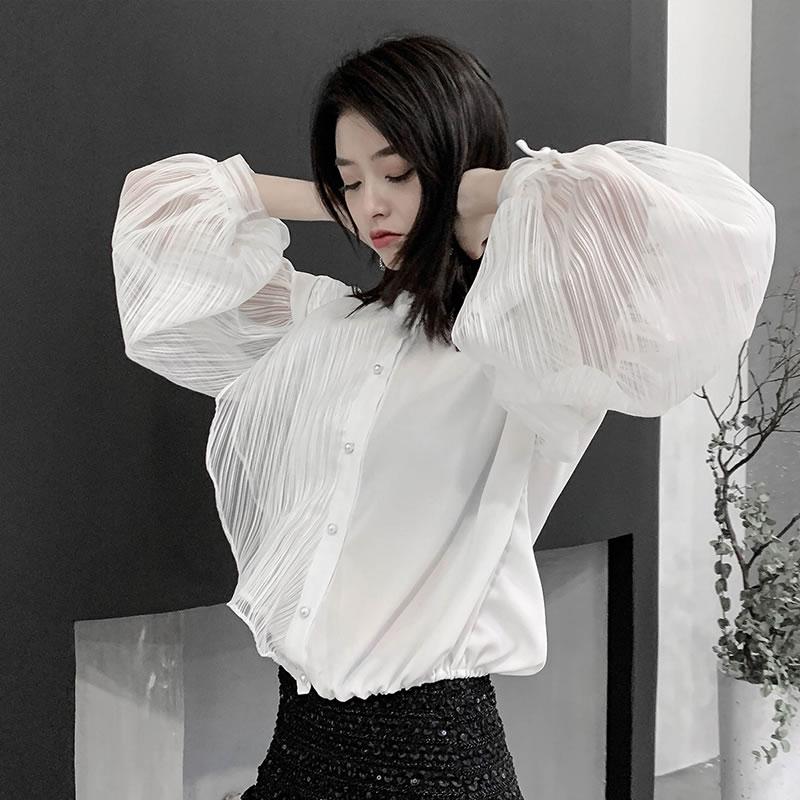 Mode Couleur Unique Manches Été Conception Solide Poitrine Corée 2019 allumette Chemise Printemps Pull Dll2715 De Blouse xitao Tout Femelle White 671vvq