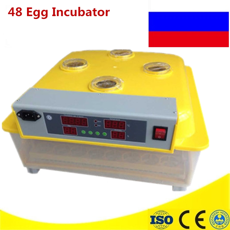 Mini 48 Eggs Incubator Automatic Egg Turning Incubator Chicken Egg Incubator Poultry Hatcher Chicken Bird Plucking Machine