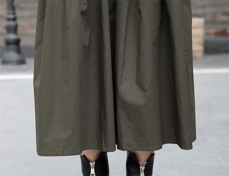 [EAM] 2019 Nouveau Printemps Col Rond à manches longues vert armée Couleur Unie grande taille robe deux pièces Femmes De Mode Marée JC92901 - 6