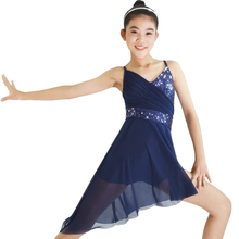 MiDee Lyrical Dance Costume Dress Sequined V-Neck High-Low For Women Girls