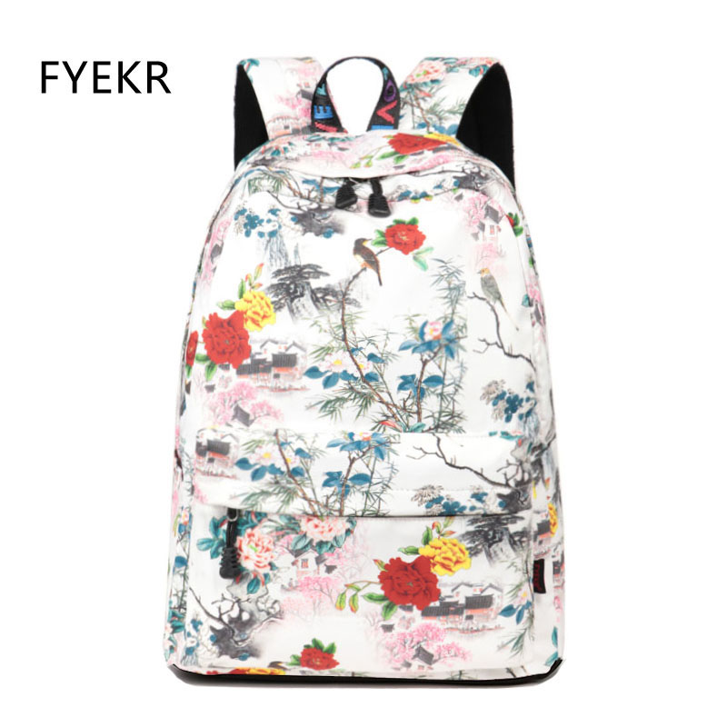 Chinese Style Fashion Women Waterproof Printing Backpack Floral Kids Backpacks Female Schoolbag Teen Laptop Knapsack For Girls