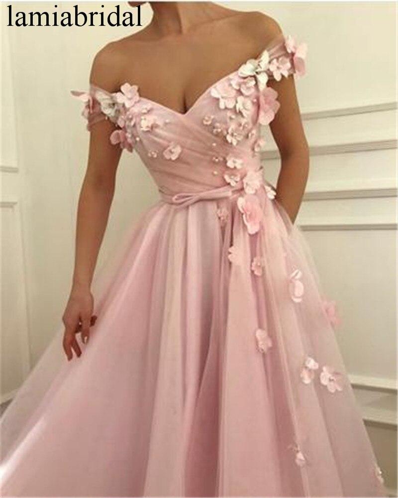 Princess 3D Floral Pink Long Prom Dresses 2019 A Line Plus Size Tulle Crystal Pearls Cheap vestidos de fiesta de noche For Women