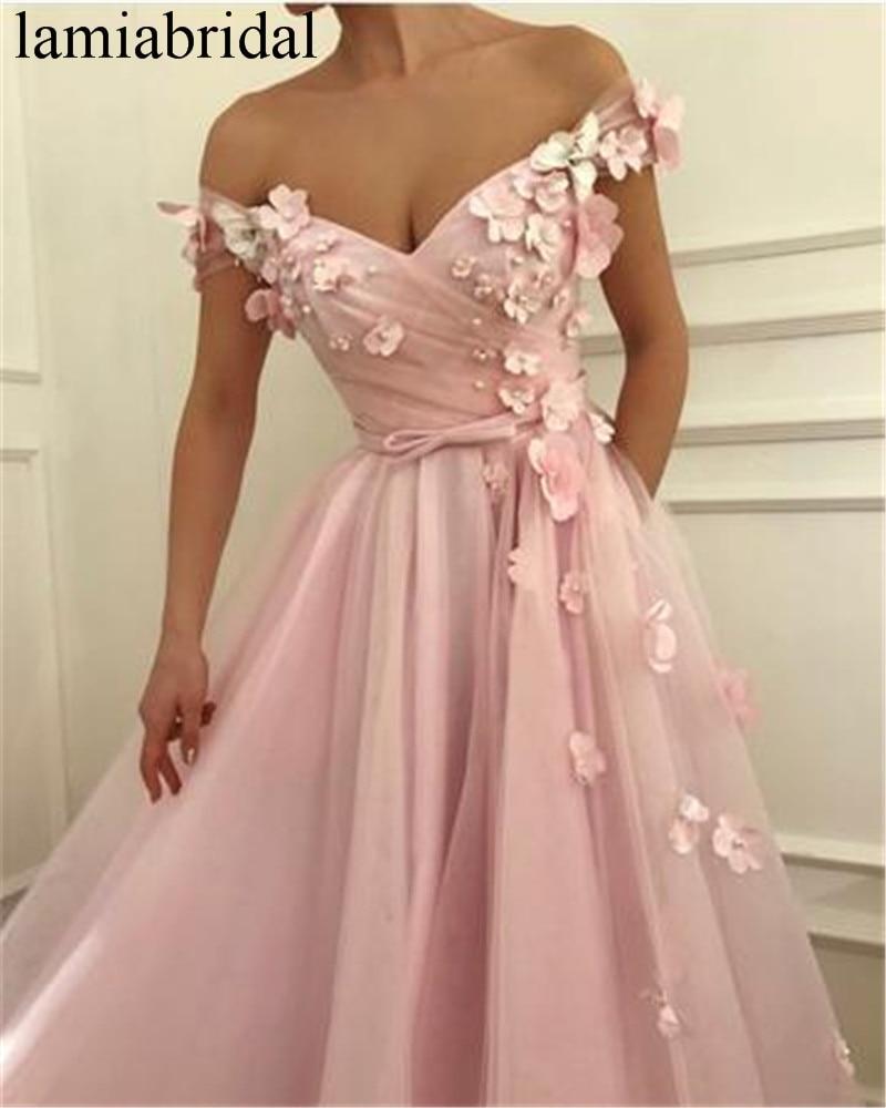 Princesse 3D Floral rose longues robes de bal 2019 une ligne grande taille Tulle cristal perles pas cher vestidos de fiesta de noche pour les femmes