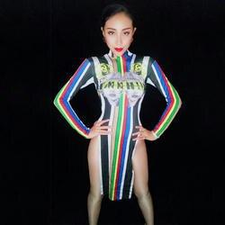 Красочные Новый танцор горный хрусталь платье сексуальный костюм женский этап певица наряд для Для женщин Бейонсе ночной клуб платья DJ266