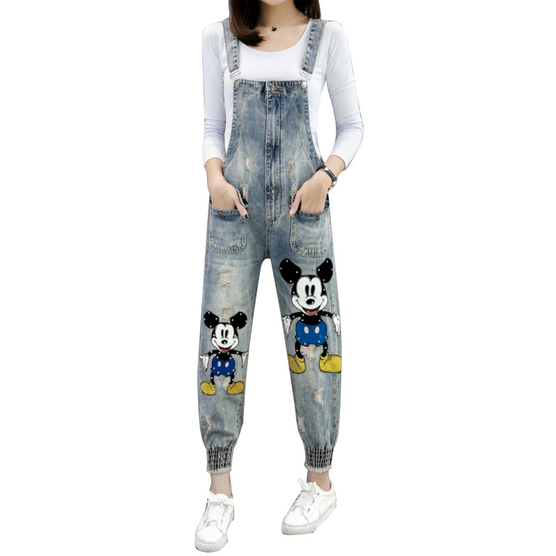 Paillettes Salopette 1288 Bande Jeans D356 Pantalon Denim Dessinée Occasionnels De Barboteuse Combinaisons Femelle Femmes twFOqZ0