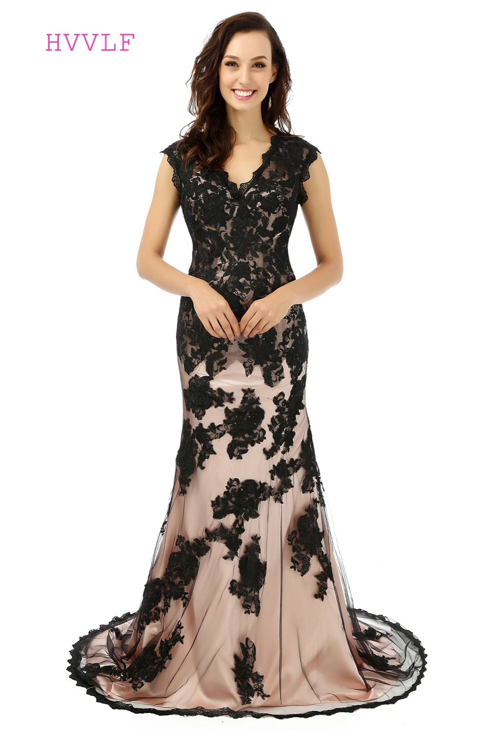 Popular Black Cap Sleeve Evening Gown-Buy Cheap Black Cap Sleeve ...