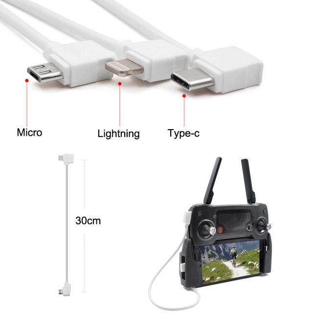 DJI Mavic pro Control Micro USB Type-c IOS Android OTG Data Cable Line 30CM For DJI Mavic pro /air / iPhone Table