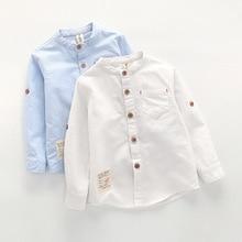 Рубашки для маленьких мальчиков г. Весна-осень, новая школьная блуза с длинными рукавами детская одежда белые рубашки для маленьких мальчиков, блуза детские топы