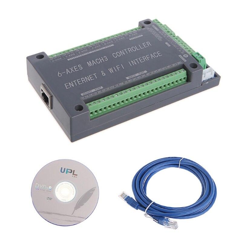 NVUM 6 Axis CNC Controller MACH3 Ethernet Interface Board Card 200KHz For Stepper Motor