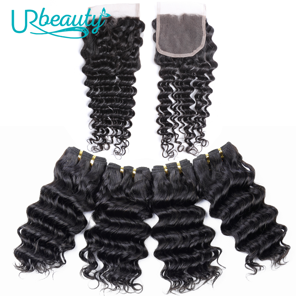 50g pc Deep Wave Bundles With Closure Brazilian Human Hair Bundles With Closure UR Beauty Remy