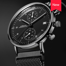 LOSIAN Men Watch Top Brand Luxury Date Hour Minutes Dial Waterproof Black for Friend Stainless Steel Relogio Feminino