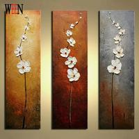 WEEN No Frame White Flower Hand Painted Oil Canvas Painting 3 Panels Module Palette Knife Wall