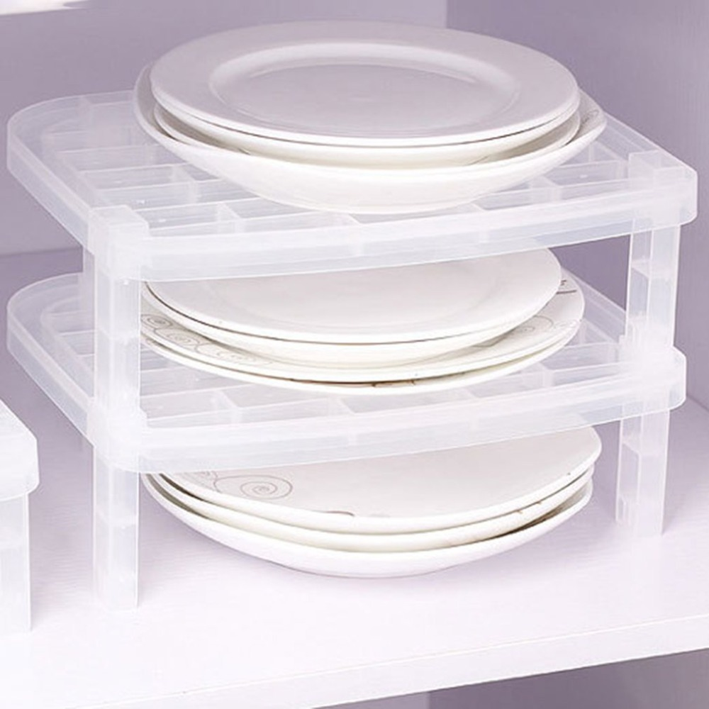 2 Layers Dish Plate Storage Organizer Transparent Antibacterial Vertical Dish Rack Creative Kitchen Rack Space-Saving Convenient