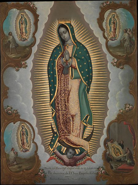 TOP Religious painting The Virgin of Guadalupe with the Four Apparitions Catholic print art painting on canvas- good quality