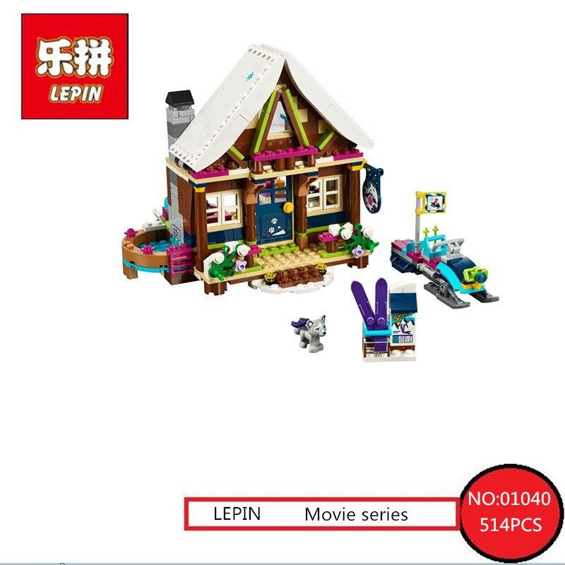 Lepin 01040  514PCS Girls Princess Snow Resort Chalet Model Kids Building Kits Blocks Friends Bricks Toys Compatible 41323