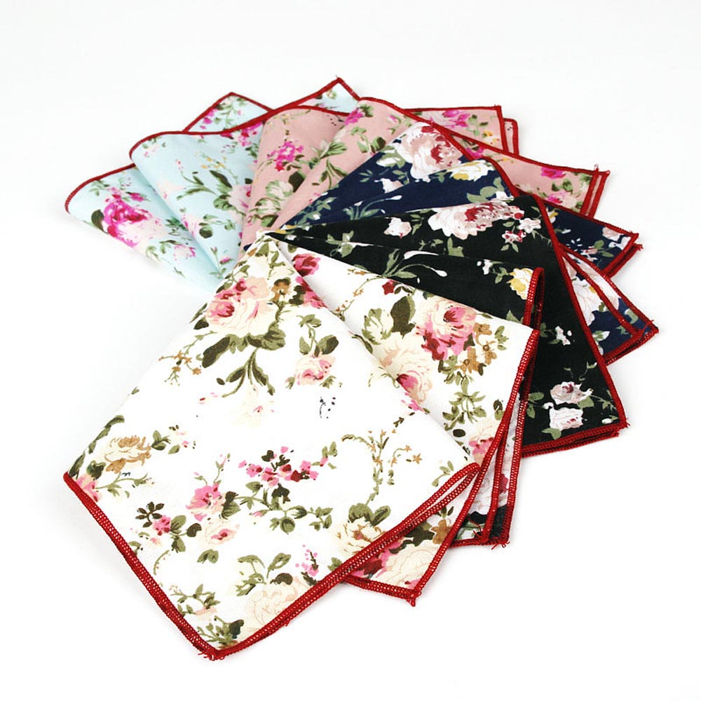 Men Vintage Cotton Flower Pocket Square Handkerchief Wedding Hanky 5 Colors BWTYF0014