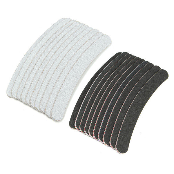 все цены на 10PCS/Lot Professional Slim Sandpaper Nail Files Nail File For Manicure Banan Black & Grey Zebra 100/180 Grit Emery Board, ERYTR онлайн