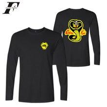 Luckyfridayf Cobra Kai hit hop Anime algodão de manga longa O pescoço camisas engraçadas de t das mulheres Dos Homens Tshirt Encantador Popular camisetas T-shirt