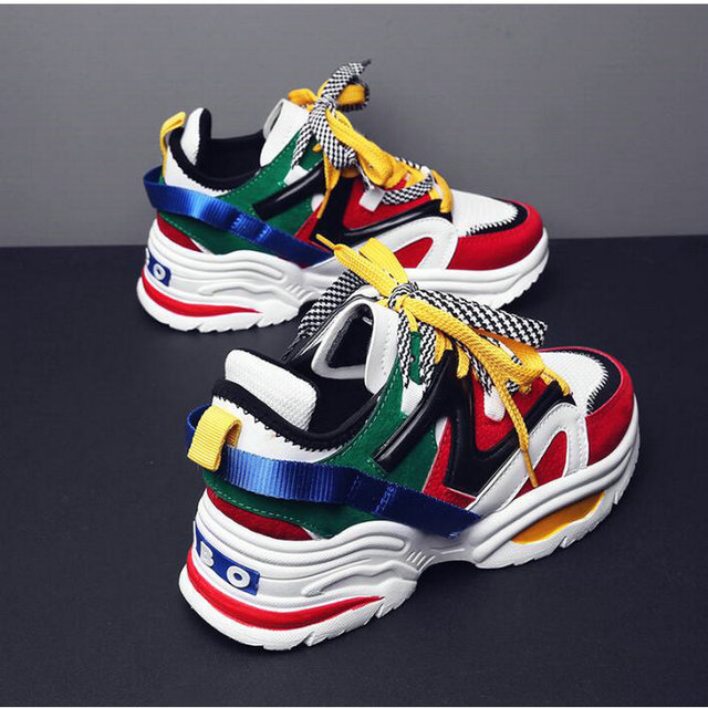 35-44 Size Women's Fashion Casual Thick Soled Female Lace Up Platform sneaker shoes Lovers High Quality Sneakers Shoes LH-18