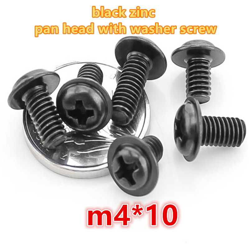 200pcs m4*10 carbon steel with black zinc plated phillip pan / round head with washer electronic screw computer screw