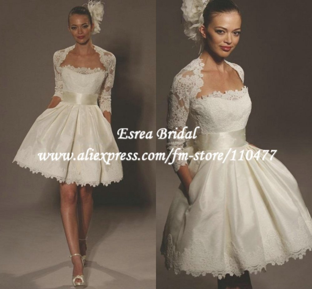 Custom A line Puffy Lace With Jacket Short Mini Wedding Dresses Lace ...