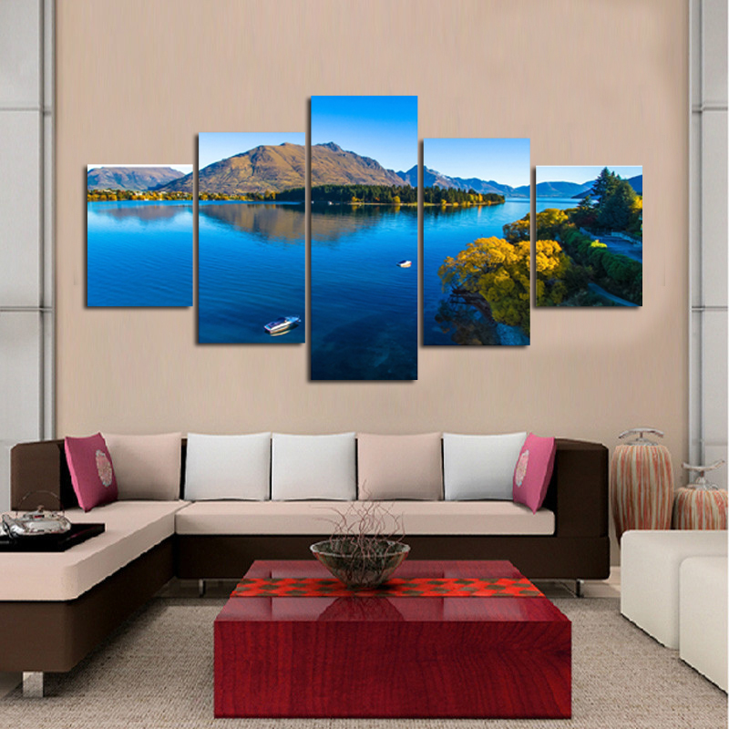 decoration printed oil painting canvas prints no frame panel laminas de cuadros de pared celeste sky and river nice landscapein painting u calligraphy