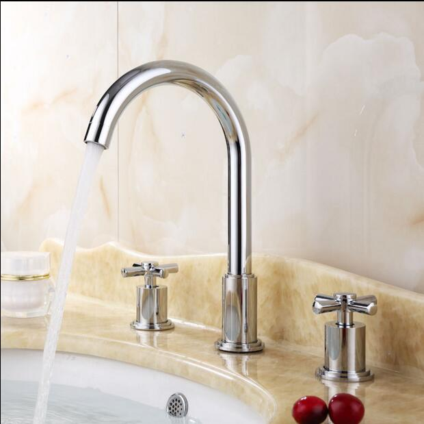 Free Shipping 8 Wide Spread Bathroom Basin Faucet 3 Holes Install Sets Bathtub Mixer Tap H1352 In Shower Faucets From Home Improvement On