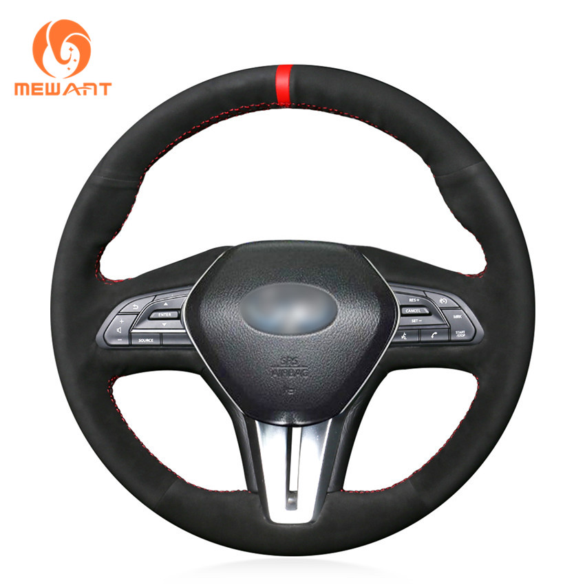MEWANT Black Suede Car Steering Wheel Cover For Infiniti