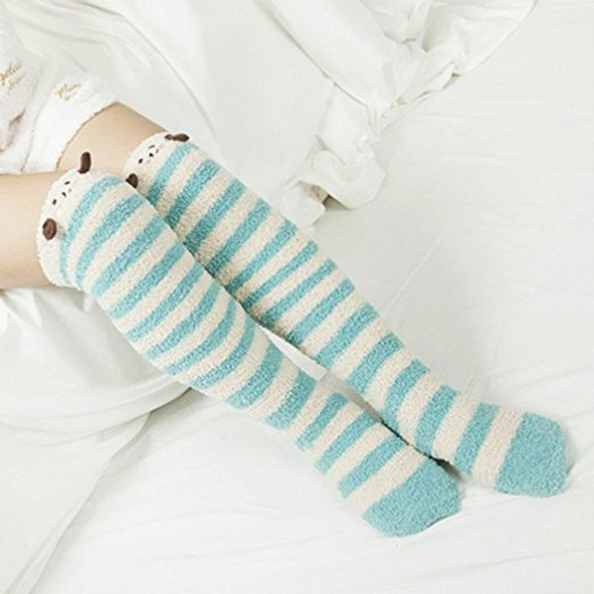 2018 Kawaii Japanese Animal Printed Knee Socks Striped Cute Lovely Long Thigh High Socks Compression Winter Warm Medias Sock