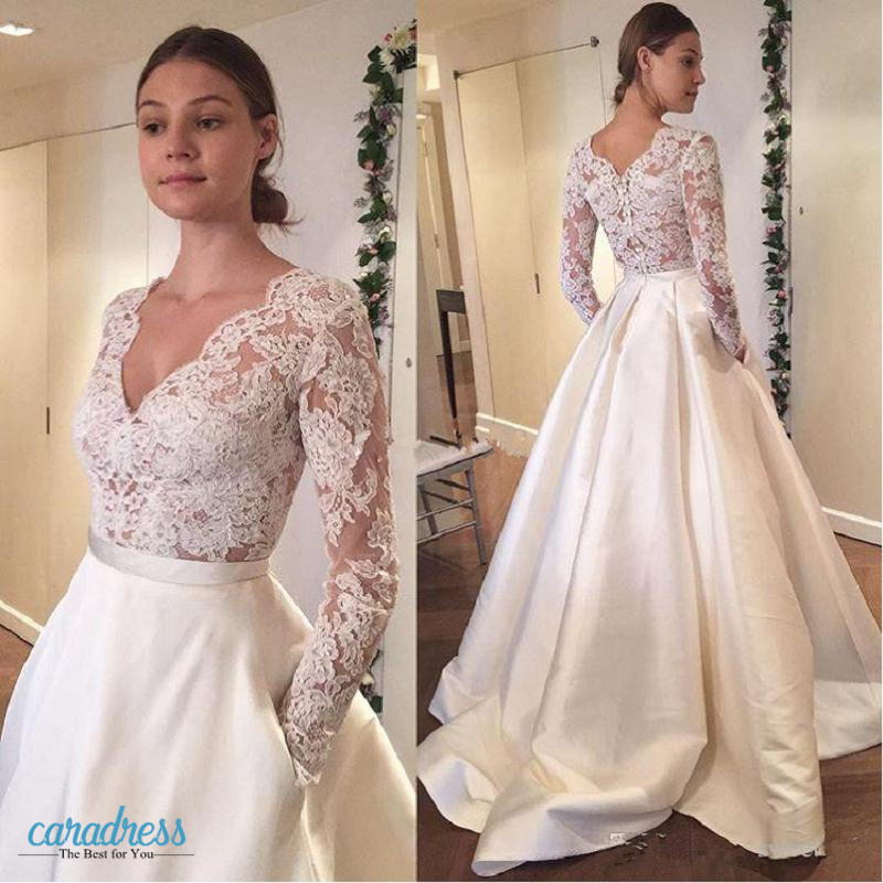 8a06f025e96 Modest Wedding Dresses with Long Sleeve Pockets Lace Applique A Line  Bohemia Country Bridal Dress Plus Size Satin Wedding Gowns