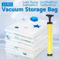 11Pcs Vacuum Storage Bags + Pump Blue Star Seal Compression Bag Wardrobe Trunk Space Saver Clothes Quilt Compressed Organizer