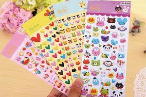 Наклейки в виде милого мультфильма «сделай сам», объемные Пузырьковые наклейки с животными в форме сердца для детей, декоративный альбом, д...