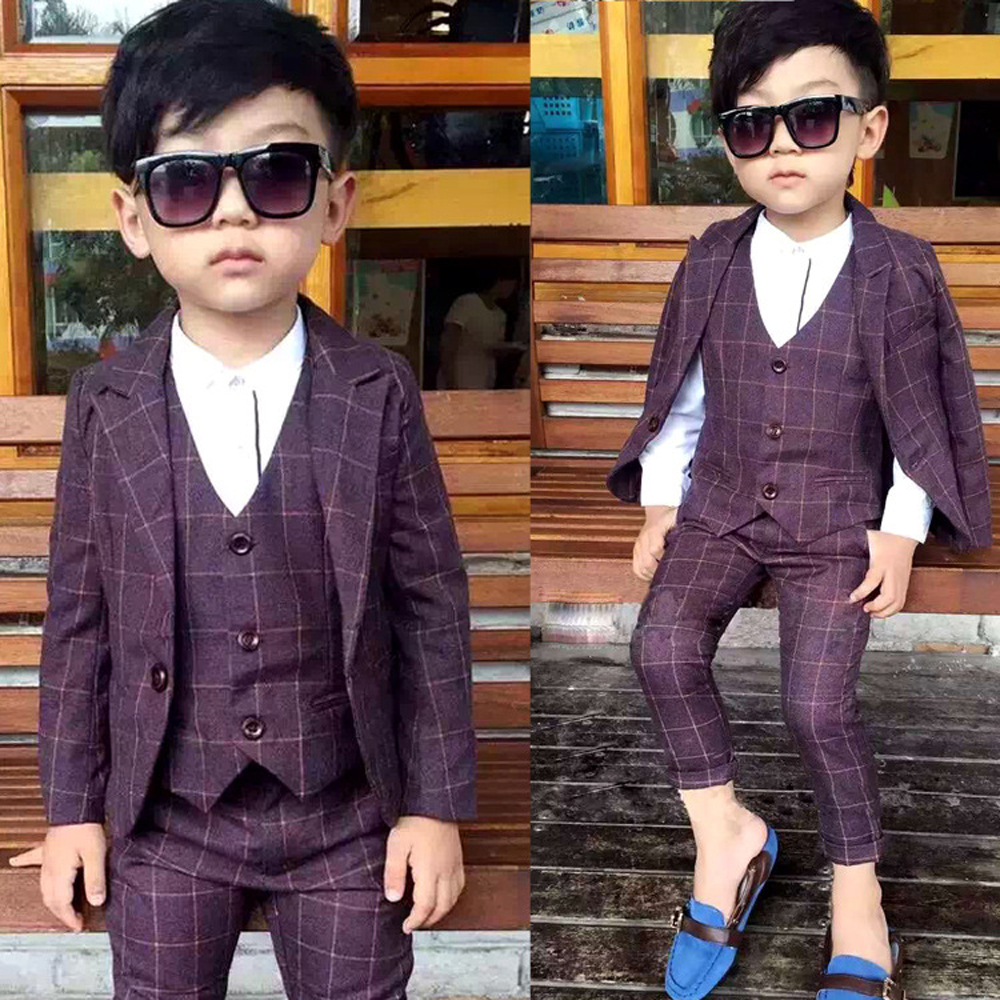 ФОТО Boys Formal Suit For Weddings Children Clothes Suits Jackets+Vest+Pants 3 Piees Baby Boys Suits Kids Blazer Boy Clothes Set B067