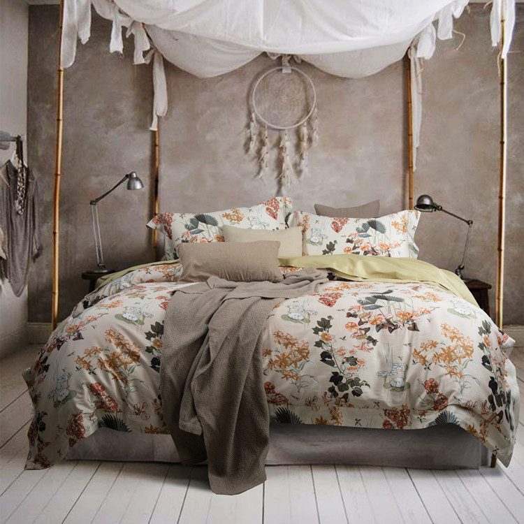 American Contracted High-grade 60 Cotton Satin Drill 4 Times Egyptian Long-staple Cotton Reactive Printing Bedding Suite