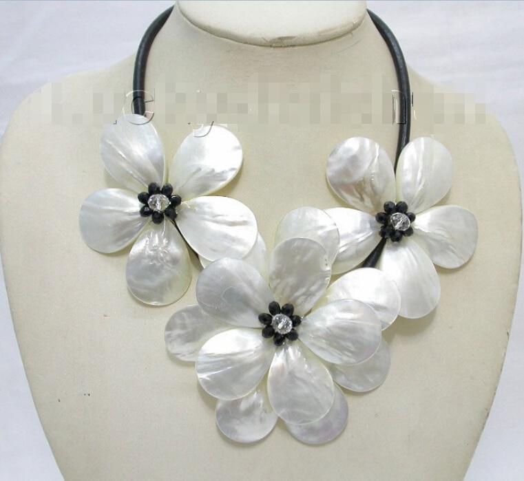 Artisanat fleur blanc coquillage noir perles ras du cou en cuir collier j8216