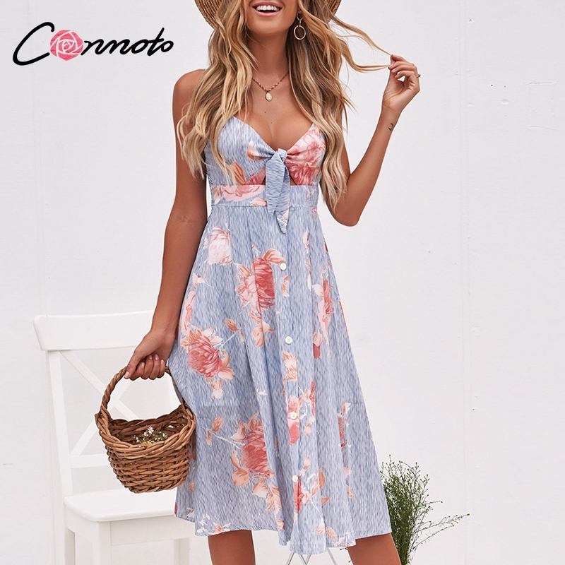 Conmoto Sexy V Neck Midi Dress L19DR1882