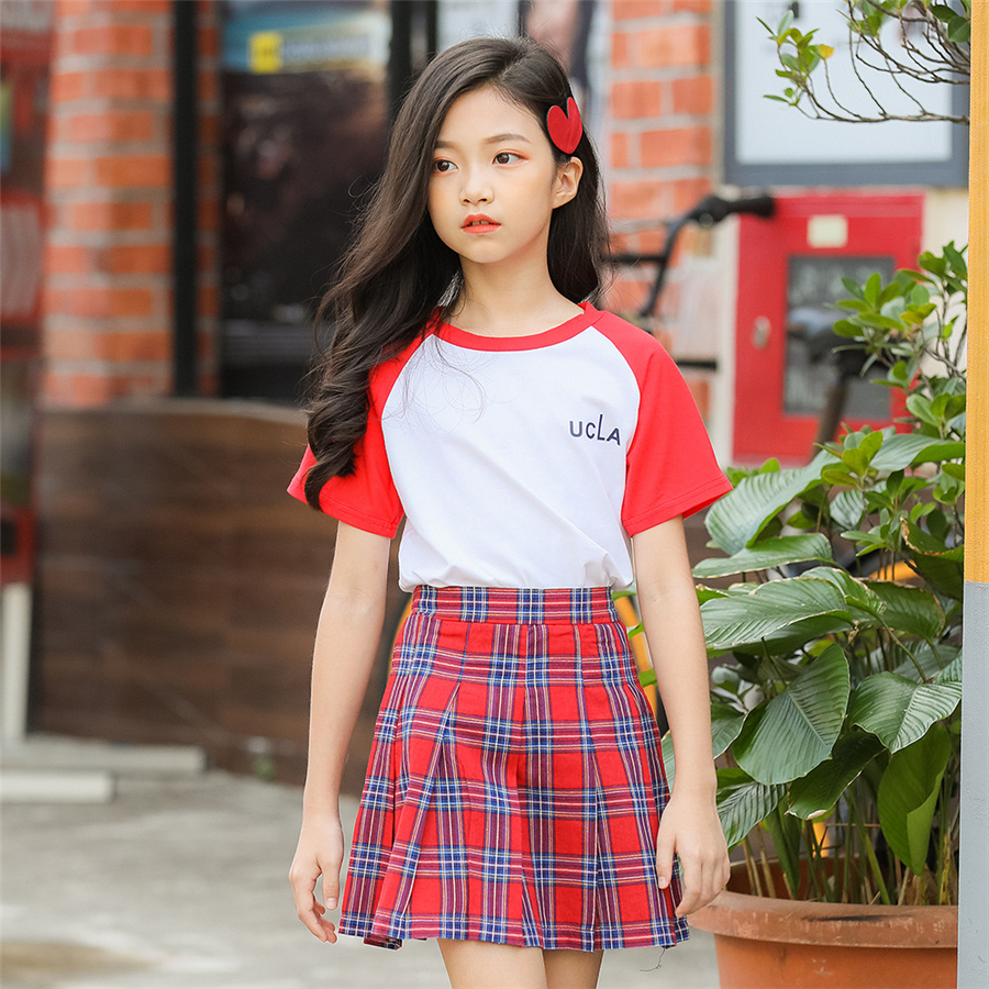 Summer 2019 girls skirts set short tshirt with mini high waist skirt Scottish pleated plaid skirts baby girl clothes 6 16 years