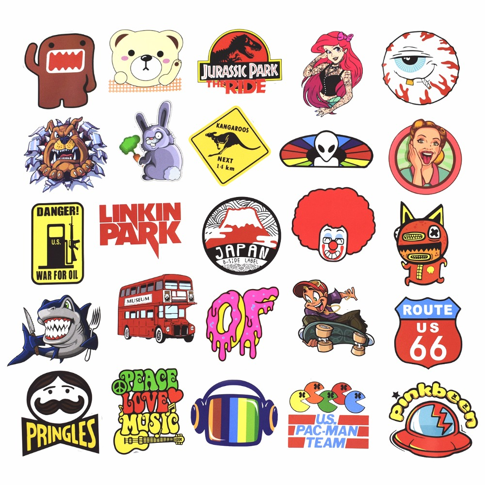 Hot 50-100 PCS Mix Stickers para Laptop Skateboard Equipaje Car - Juguetes clásicos - foto 4