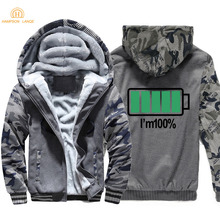 Battery I Am 100% Funny Hoodies 2019 Autumn Winter New Style Camouflage Men Sweatshirts  Warm Mens Jacket Plus Size M-4XL Coat