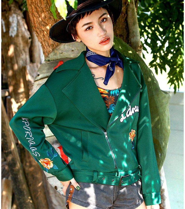 Jessica's Store Spring Women Vintage Casual Loose Luxury Emboidery Long Sleeve Large Lapel Satin Blackish Green Short Jacket
