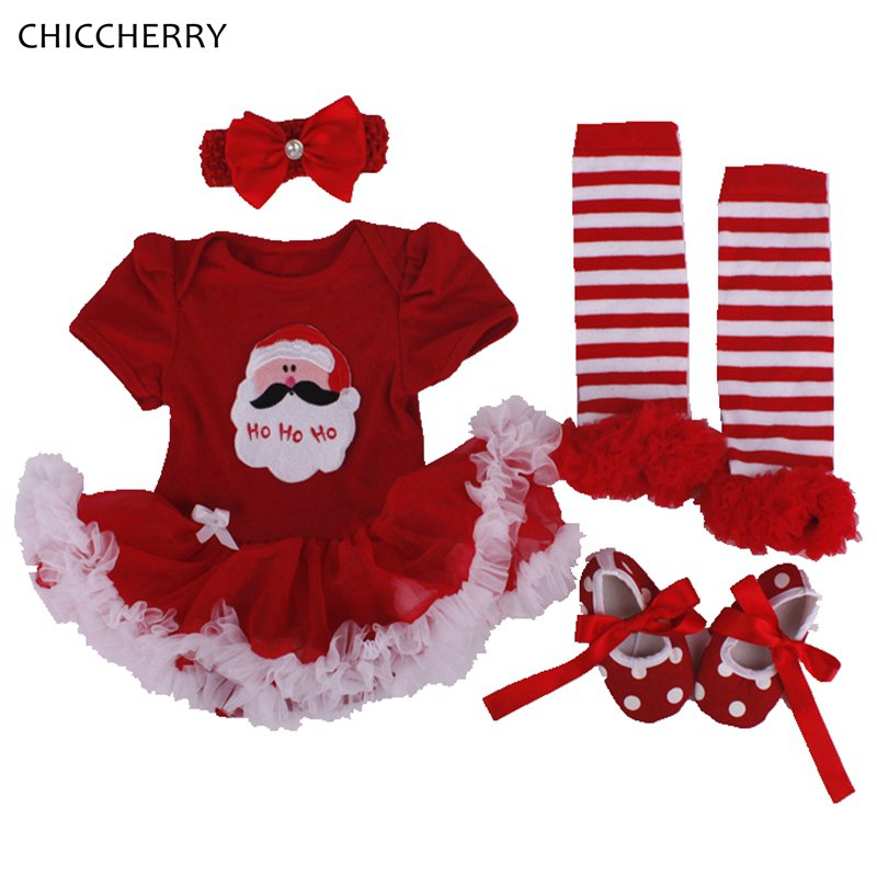 Newborn Baby Girl Christmas Tutu Dress Romper Leg Warmers Shoes Headband 4PCS Baby Girl Christmas Outfit Children Clothing Set